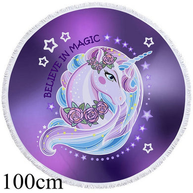 Believe In Magic Unicorn Round Beach Towel - 2 sizes