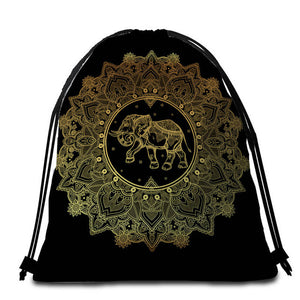 Golden Elephant Mandala Round Beach Towel - 2 sizes