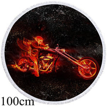 Flaming Motorcycle Round Beach Towel - 2 sizes