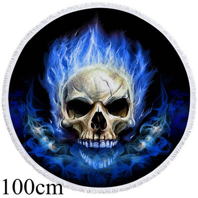 Blue Flame Skull Round Beach Towel - 2 sizes