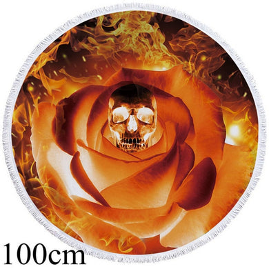 Flaming Rose Skull Round Beach Towel - 2 sizes