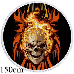 Flaming Skull Round Beach Towel - 2 sizes
