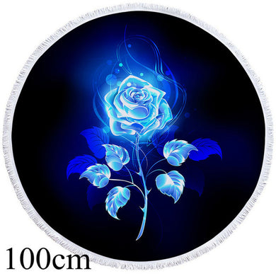 Blue Rose Round Beach Towel - 2 sizes