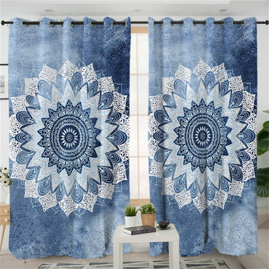 Blue Watercolour Mandala Curtains