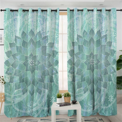 Green & Grey Lotus Mandala Curtains