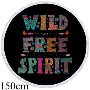 Wild Free Spirit - Black - Round Beach Towel - 2 sizes