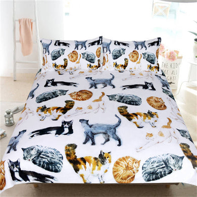 Cute Cats - Colour - Doona Cover 2/3pc set