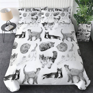 Cute Cats - Grey - Doona Cover 2/3pc set