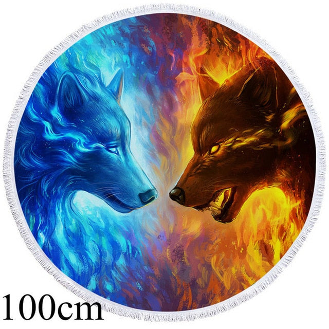 Fire and Ice by JoJoesArt Round Beach Towel - 2 sizes