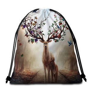 Seasons Change by JoJoesArt Round Beach Towel - 2 sizes