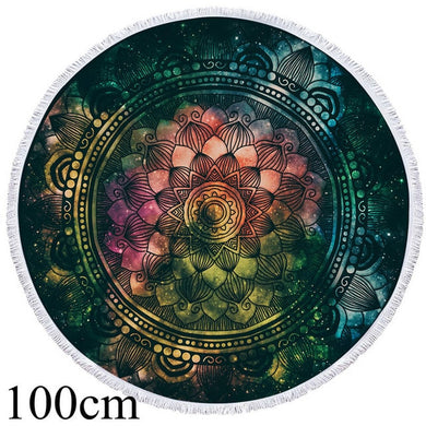 Green Watercolour Mandala Round Beach Towel - 2 sizes