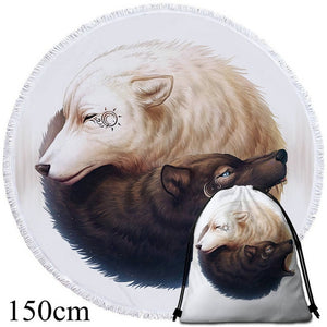 Yin and Yang Wolves by JoJoesArt - White - Round Beach Towel - 2 sizes