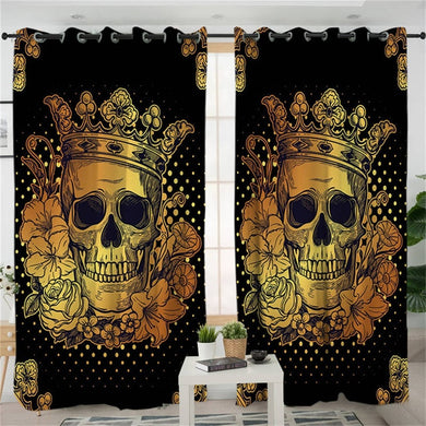 Golden Crowned Skull Curtains