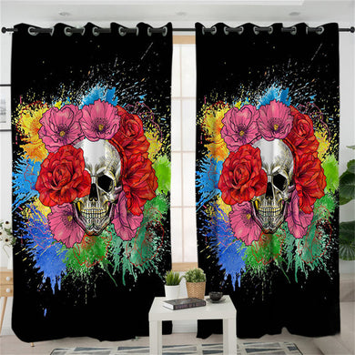 Splashed Skull Curtains