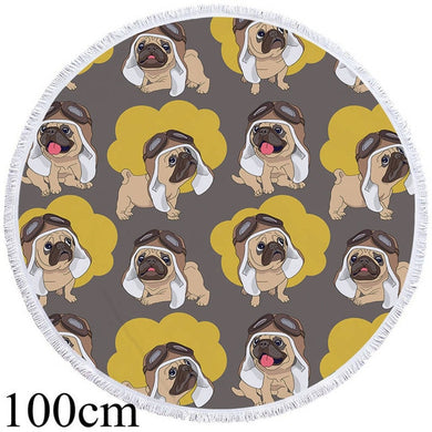 Hipster Pug Round Beach Towel - 2 sizes