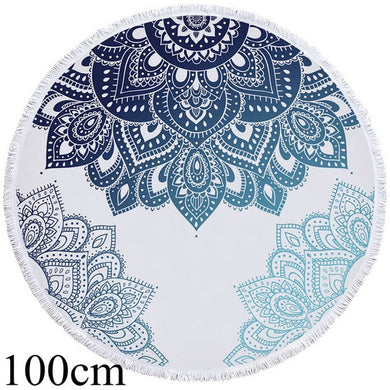 White & Blue Mandala Round Beach Towel - 2 sizes