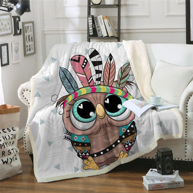 Baby Owl Chief Sherpa Throw Blanket - 4 sizes