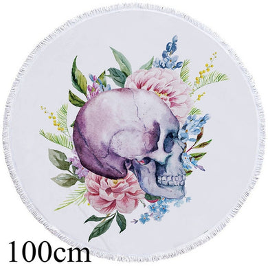 Floral Side Skull Round Beach Towel - 2 sizes