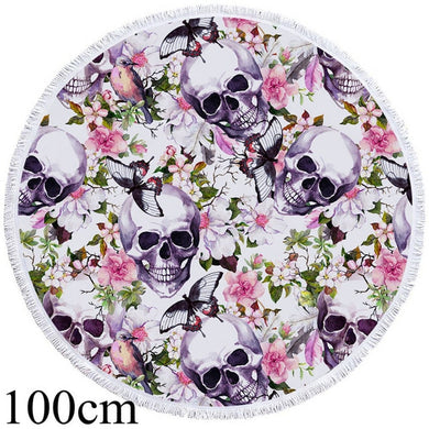 Skulls & Butterflies Round Beach Towel - 2 sizes