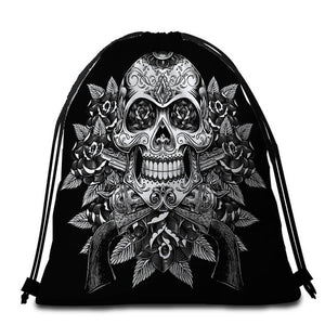 Vintage Black & White Floral Sugar Skull Round Beach Towel - 2 sizes