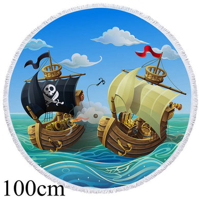 Pirate Ships Round Beach Towel - 2 sizes