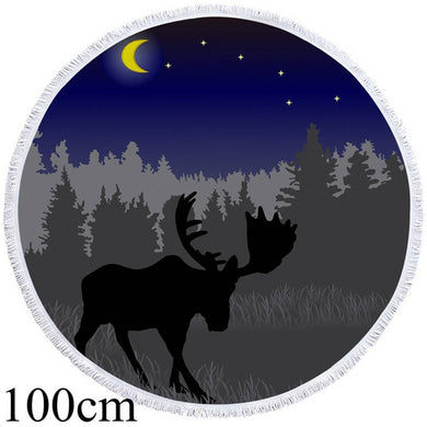Midnight Moose Round Beach Towel - 2 sizes