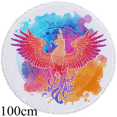 Watercolour Phoenix Round Beach Towel - 2 sizes