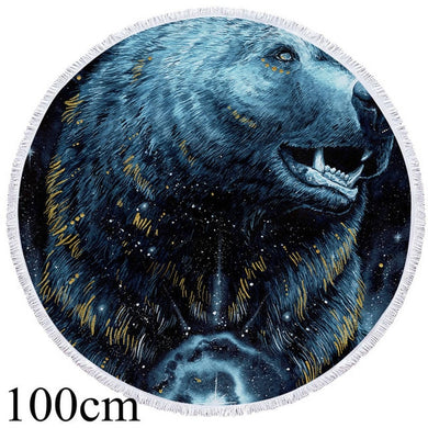 In The Darkness Bear by Scandy Girl Round Beach Towel - 2 sizes