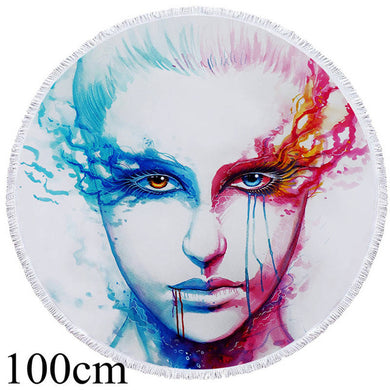Bipolarity by JoJoesArt Round Beach Towel - 2 sizes