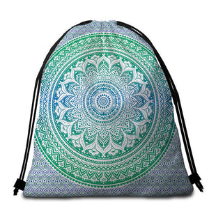 Bohemian Blue & Green Mandala Round Beach Towel - 2 sizes