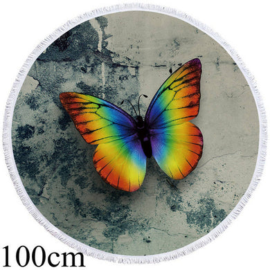 Butterfly Rainbow Microfiber Round Beach Towel - 2 sizes