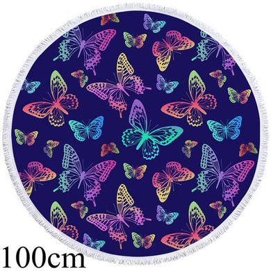Butterfly Blues Round Beach Towel - 2 sizes