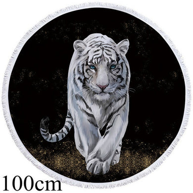 White Tiger Walk Round Beach Towel - 2 sizes
