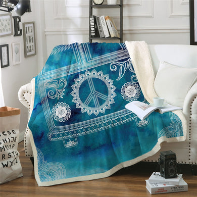 Hippie Bus - Blue - Sherpa Throw Blanket - 4 sizes