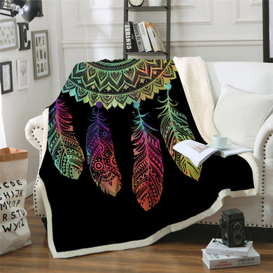 Rainbow Mandala Dreamcatcher - Half - Sherpa Throw Blanket - 4 sizes