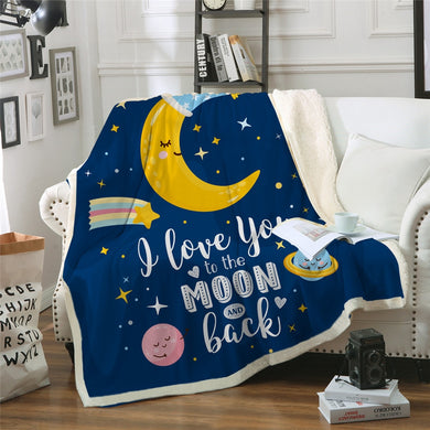 To The Moon And Back Sherpa Throw Blanket - 4 sizes