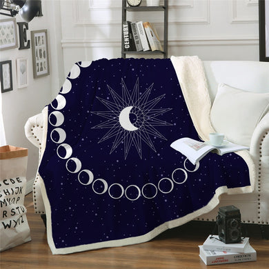Moon Cycle Sherpa Throw Blanket - 4 sizes