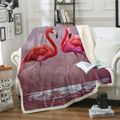 Flamingos At Dusk Sherpa Throw Blanket - 4 sizes