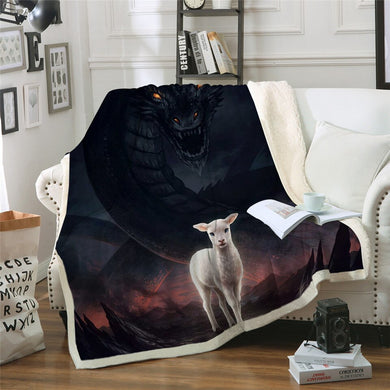 The Lamb and the Dragon by JoJoesArt Sherpa Throw Blanket - 4 sizes