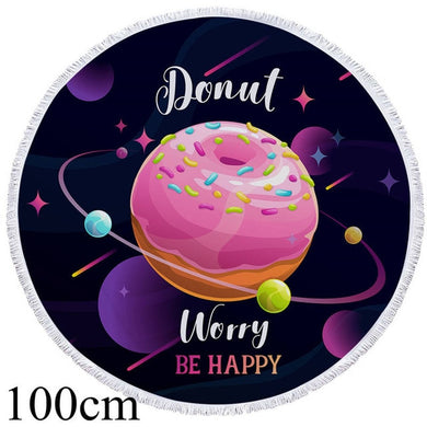 Donut Worry Be Happy Round Beach Towel - 2 sizes