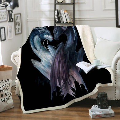 Yin and Yang Dragons by JoJoesArt - Black - Sherpa Throw Blanket - 4 sizes