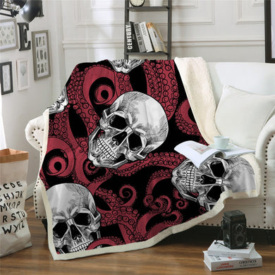 Octo Skull - Red Tentacles - Sherpa Throw Blanket - 4 sizes