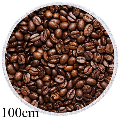 Coffee Beans Round Beach Towel - 2 sizes