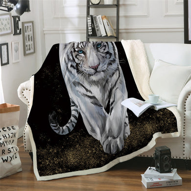 White Tiger Walk Sherpa Throw Blanket - 4 sizes