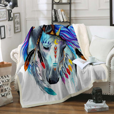 Pferd by Pixie Cold Art Sherpa Throw Blanket - 4 sizes
