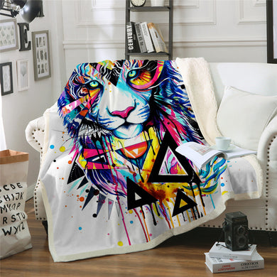 Shattered Tiger by Pixie Cold Art Sherpa Throw Blanket - 4 sizes