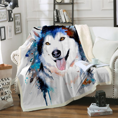 Husky by Pixie Cold Art Sherpa Throw Blanket - 4 sizes