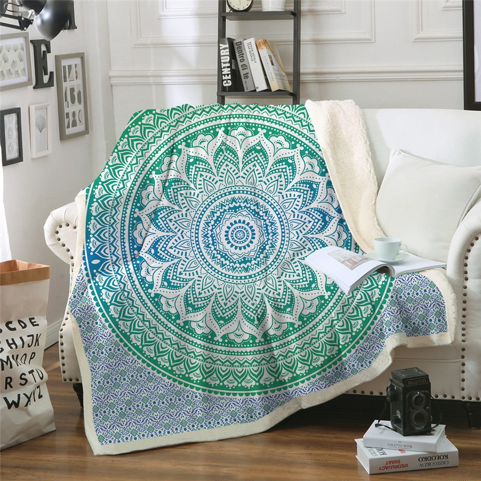 Bohemian Blue & Green Mandala Sherpa Throw Blanket - 4 sizes