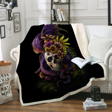 Flowery Skull by SunimaArt Sherpa Throw Blanket - 4 sizes
