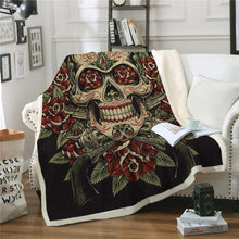 Vintage Red & Green Sugar Skull Sherpa Throw Blanket - 4 sizes